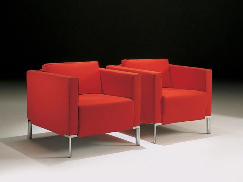 Nella, Armchair with steel legs, covered in acrylic fibers