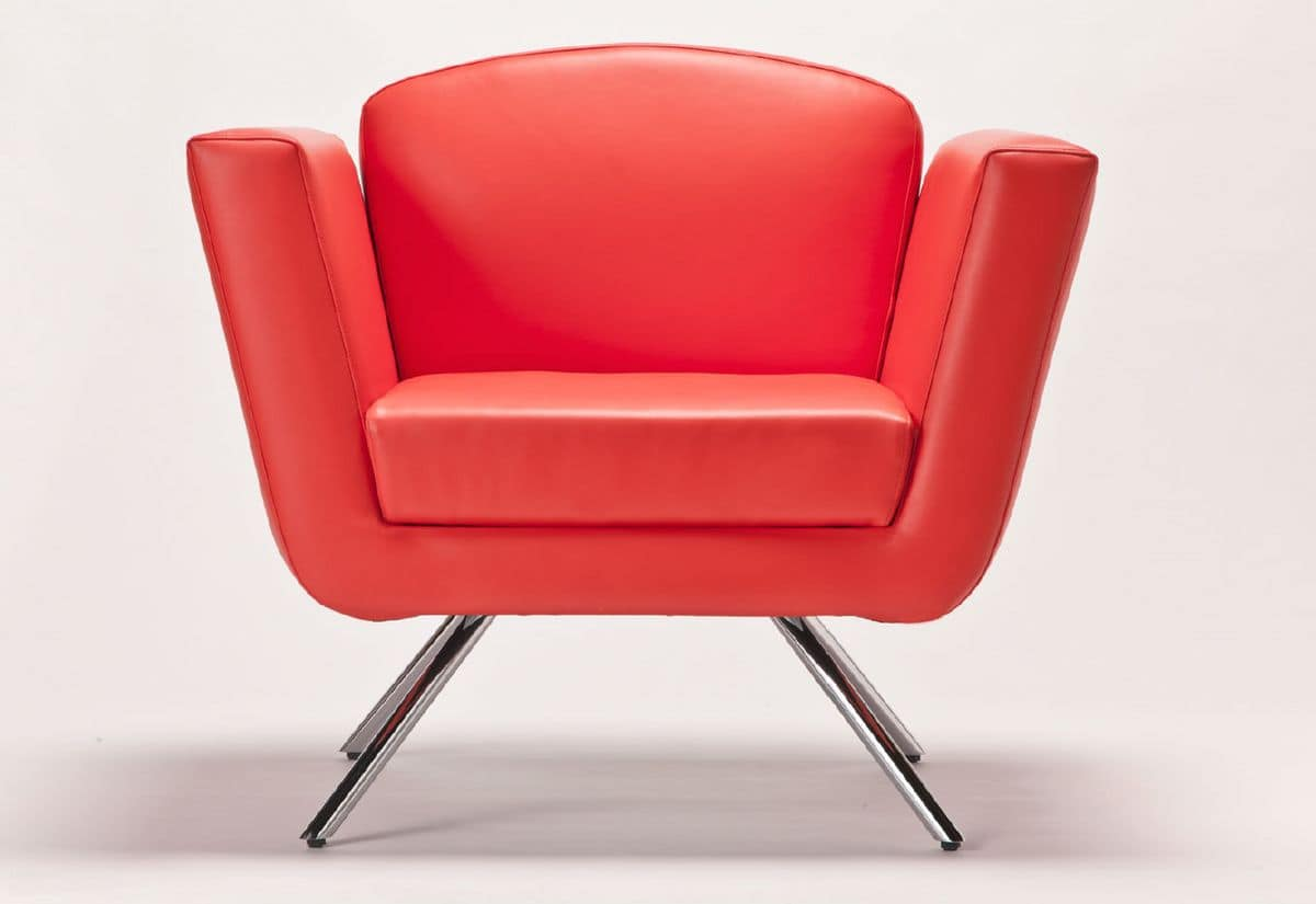 PL 999.01, Armchair with metal base, padded, to hotel