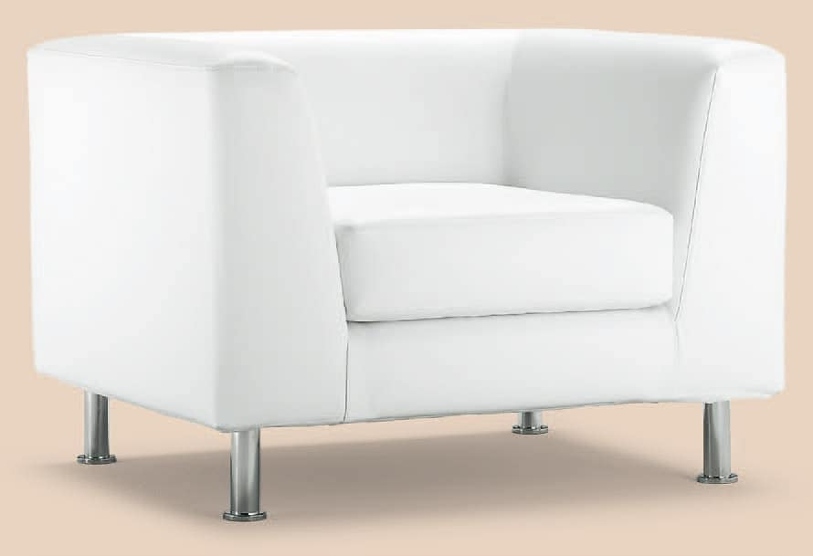 PL VEGA 1P, Armchair with modern lines, chrome feet, for hotels