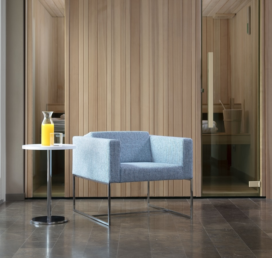 Square armchair, Modern armchair with square tubular, for contract use