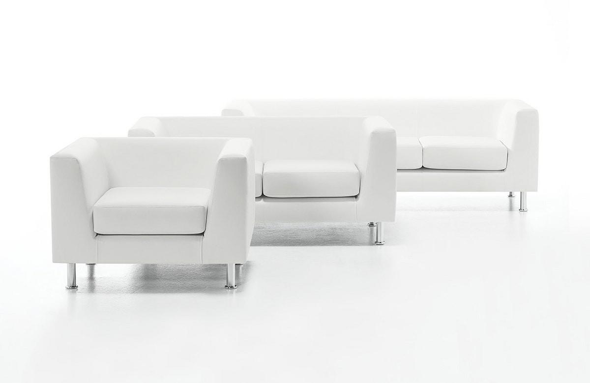 Wait 01, Upholstered armchair for office, legs made of tubular steel