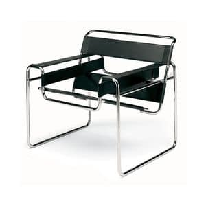 Wassilly, Modern chair, steel frame, seat and back in leather