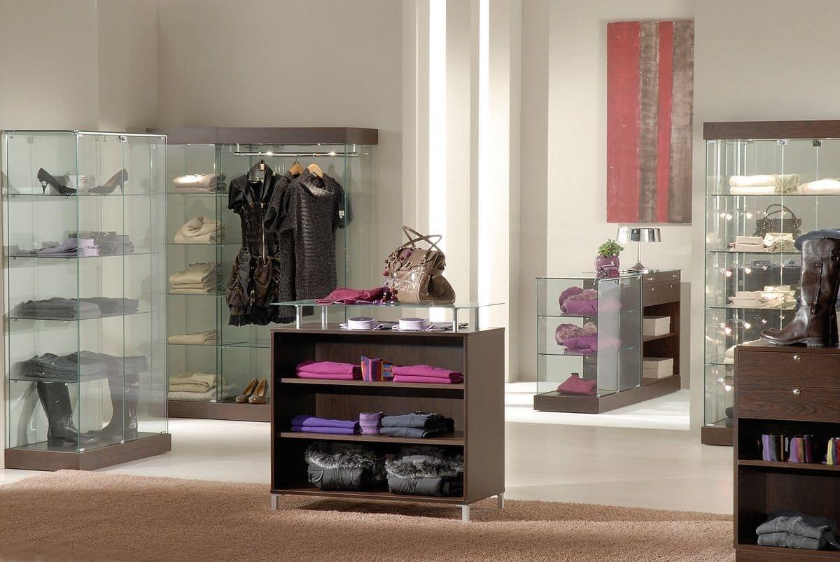 Laminato 50/BC, Modular counter, with glass top, wooden shelves