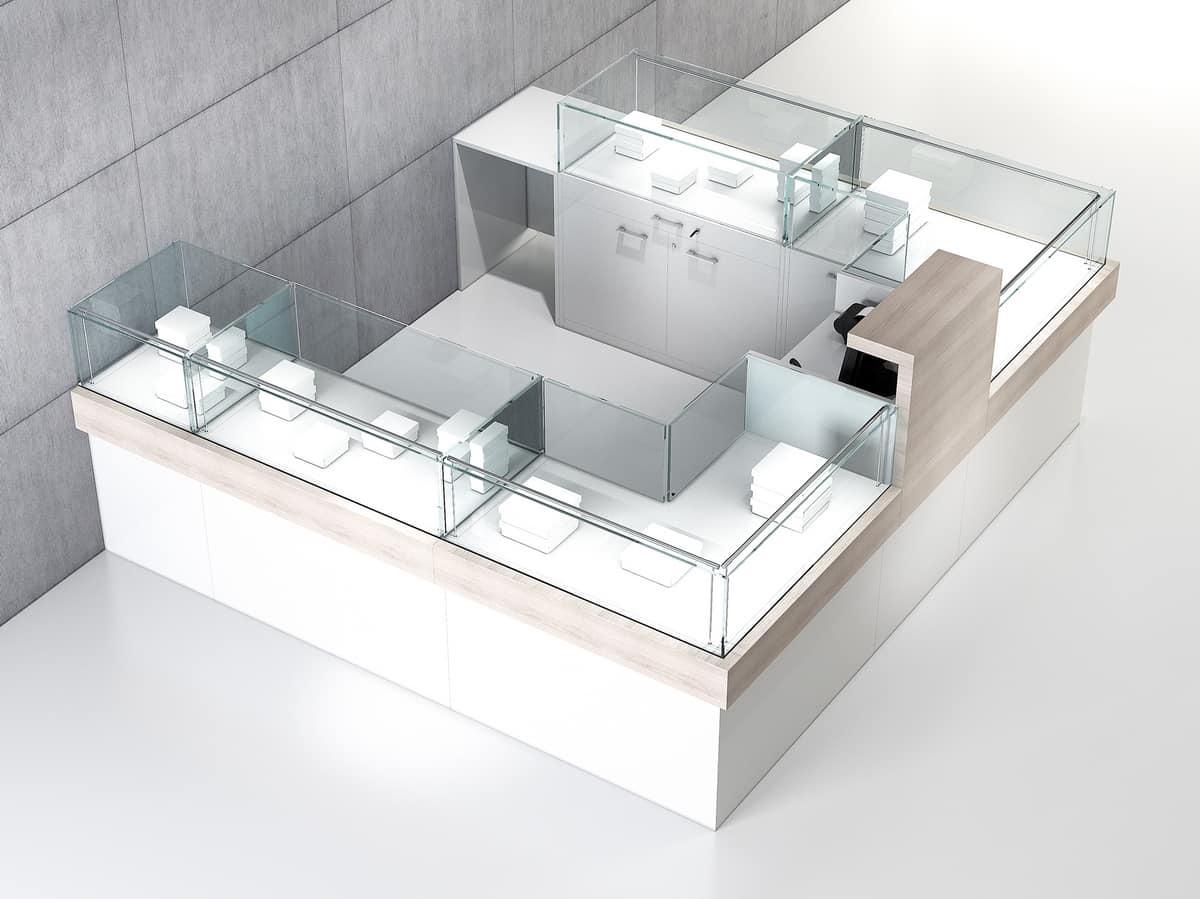 COM/QF7, Horseshoe-shaped counter, for shopping malls