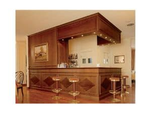 Regency Hotel, Stylish bar counter, wood paneling decorated, custom-made