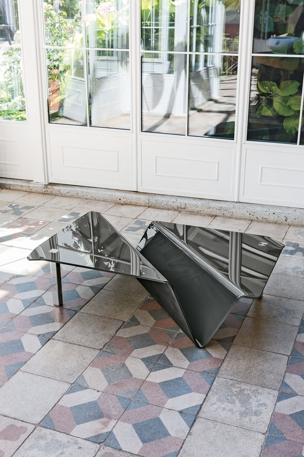 ALBATROS TLC05, Glass coffee table with magazine holder element