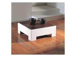 Parapan, Square coffee table with wooden top, stone base