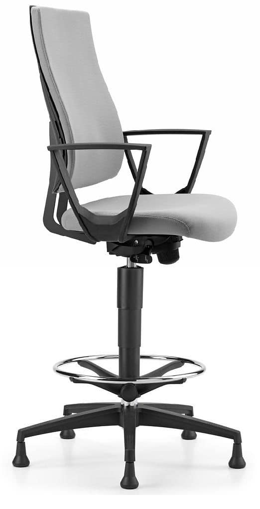 ALLY 1713, Stool with aluminum base and armrests, for office