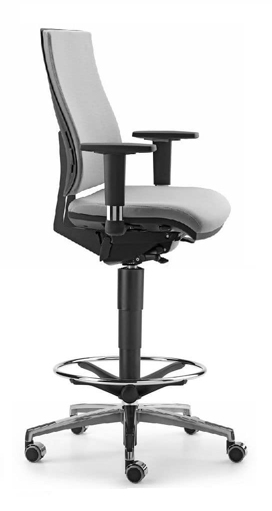 ALLY 1733, Stool with upholstered seat and back, T armrests
