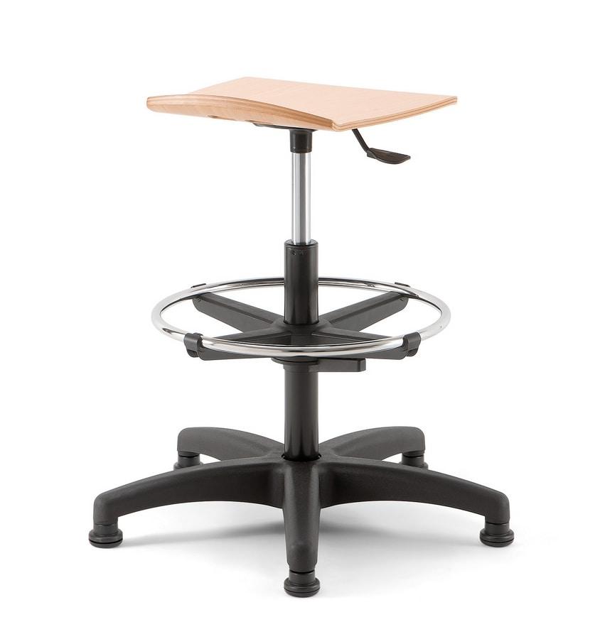 Bow 03, Adjustable stool with spoke base