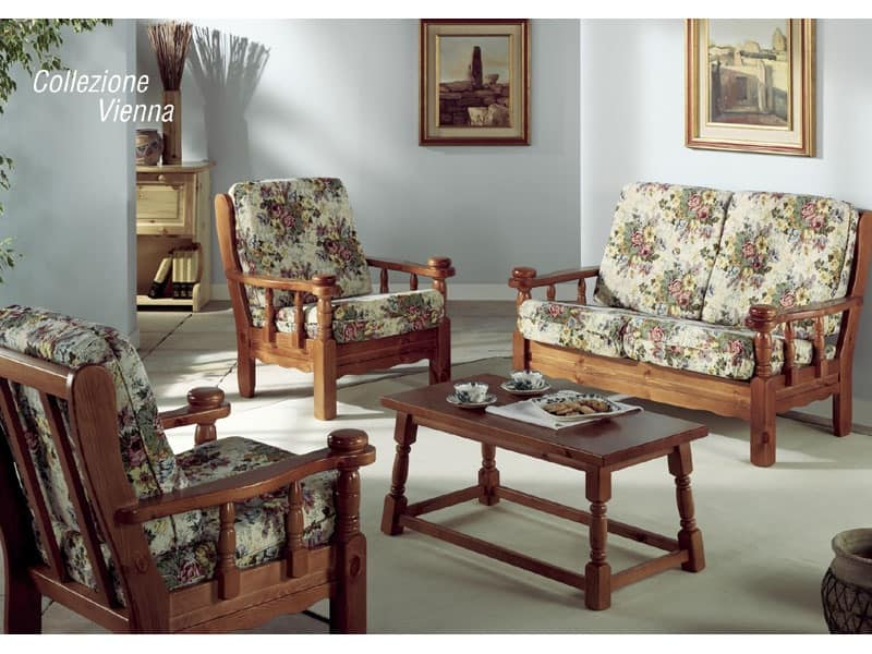 Collection Vienna, Upholstered armchair with wooden frame, in rustic style