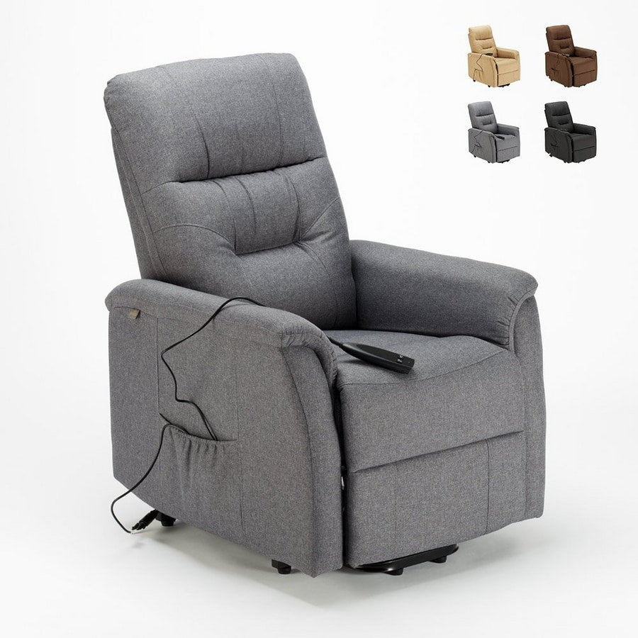 Electric reclining relaxation armchair with fabric lifter MARIE for elderly people - SR680FGS, Reclining armchair with electric mechanism