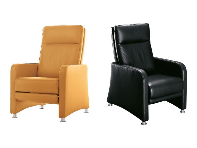 Helena, Ergonomic armchair with reclining backrest and footrest