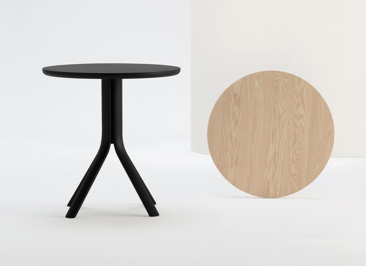 ART. 470 PECK, Round bar table, in solid wood