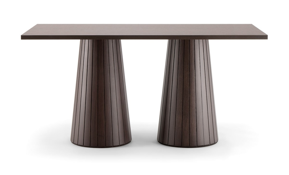 CORDOBA TABLE 082 D H75, Rectangular table with double conical base
