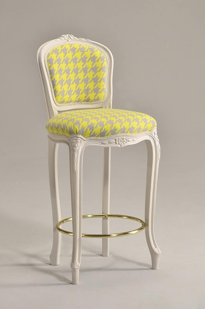 BRIANZOLO barstool 8017B, Stool in the style of Louis XV, in beech, for historical bars