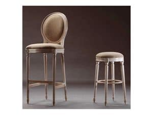 LUIGI XVI barstool 8023B, Comfortable barstool, in beech, oval back, for casino