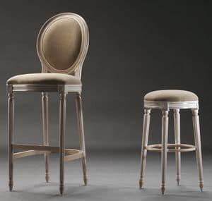 LUIGI XVI barstool 8479B, High barstool, in Louis XVI style, for historical bars