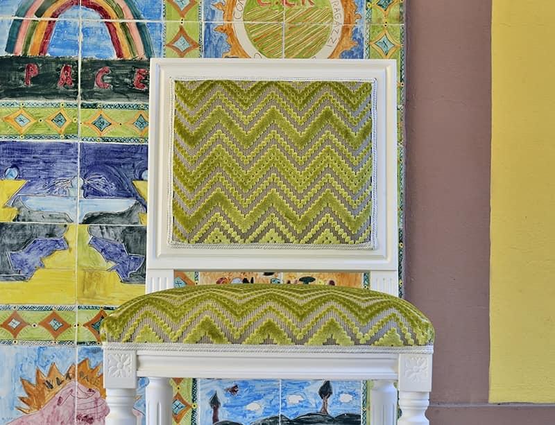 LUIGI XVI QUADRA barstool 8019B, Traditional beech barstool upholstered, for restaurant
