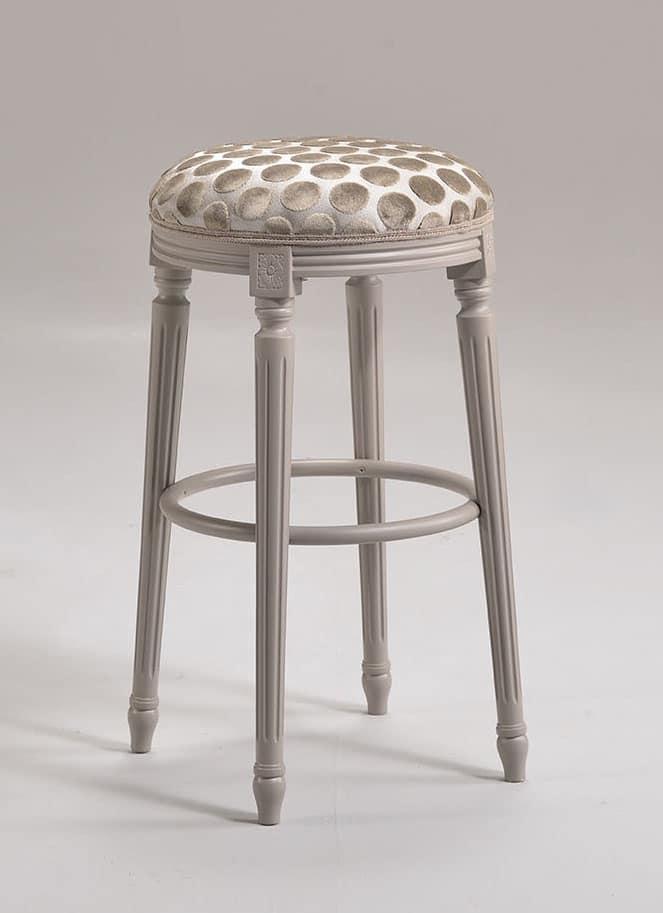LUIGI XVI stool 8274B, Barstool in Louis XVI style, in beechwood, for naval furniture