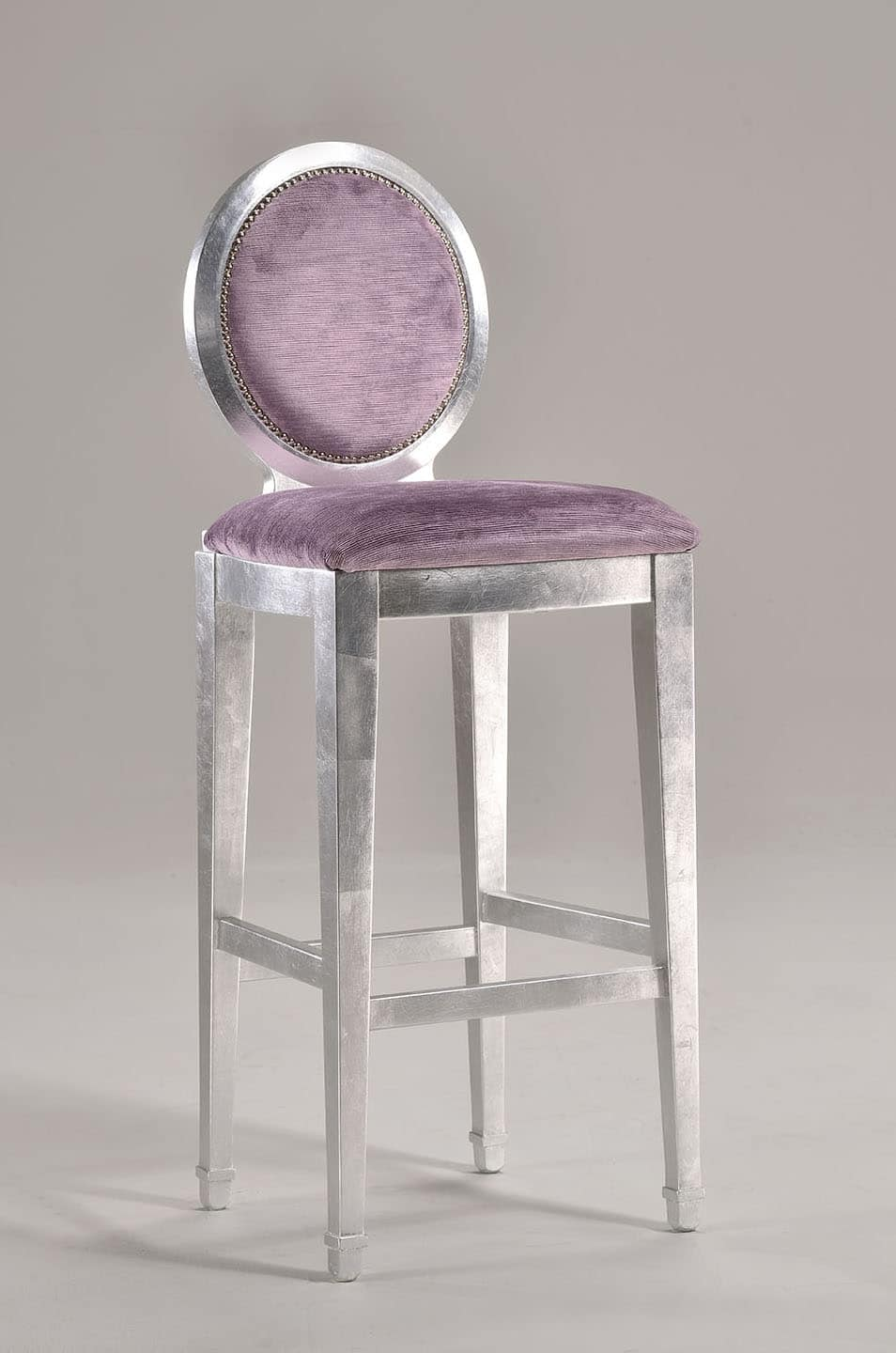 LUNA barstool 8269B, Fixed height stool with oval backrest, classic style