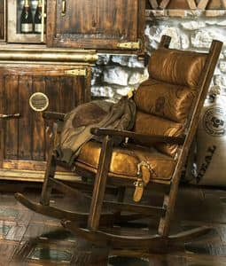 Art. 614, Rocking chair, upholstered in calf leather