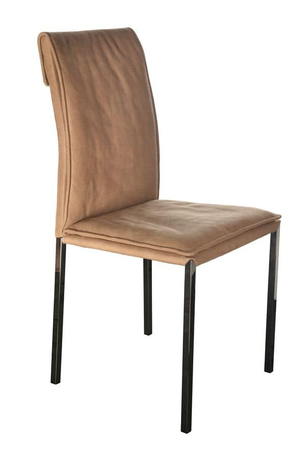 Borso top black chrome, Metal chair with upholstered seat suited for modern dining rooms