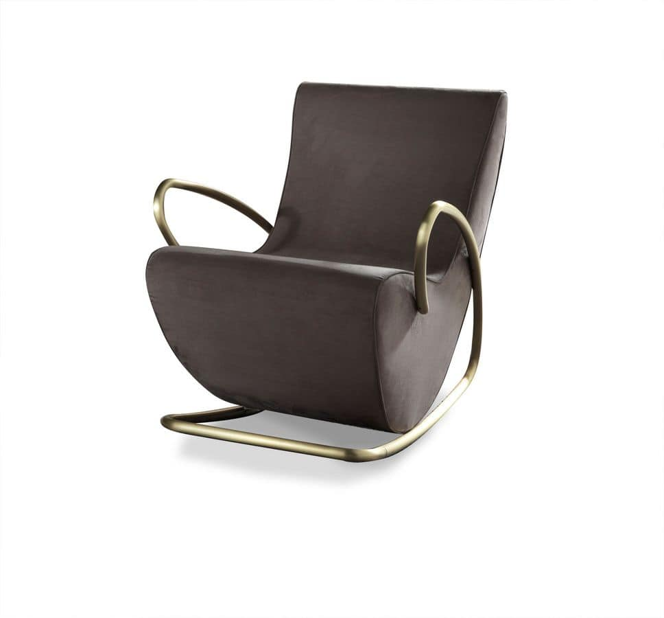 Camilla armchair, Metal modern rocking armchair, padded in rubber