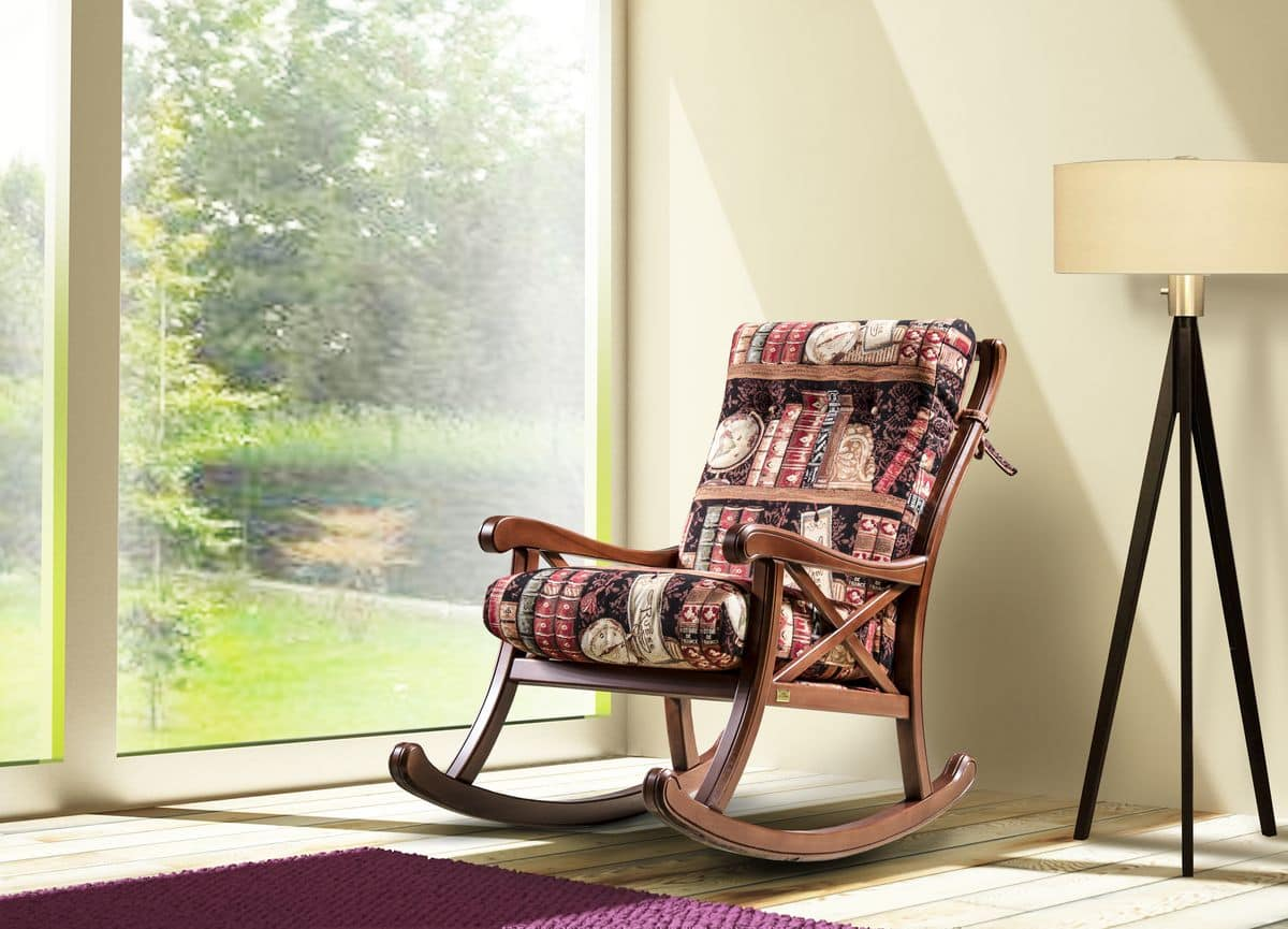 Charmant Country Rocking Chair, Padded Rocking Chair Made Of Wood, Country Style