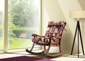Country rocking chair, Padded rocking chair made of wood, country style