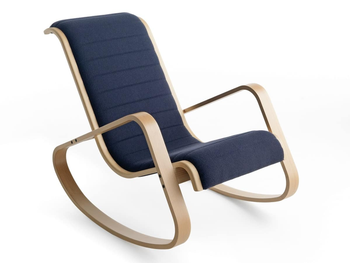 Dondolo FU, Padded rocking chair with armrests