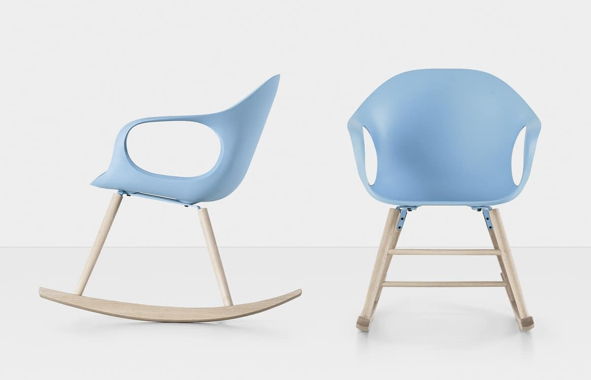 Elephant Rocking Chair, Rocking chair with base in solid wood and polyurethane shell