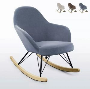 ROCKing Modern Design Eiffel Rocking Chair Velvet Metal Wood SD009, Upholstered rocking chair
