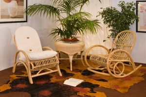 Rocking rattan-rush, Rocking chair in reed or rattan
