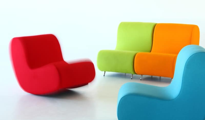 Simple rocking chair, Rocking armchair, seat upholstered in fireproof foam, modular