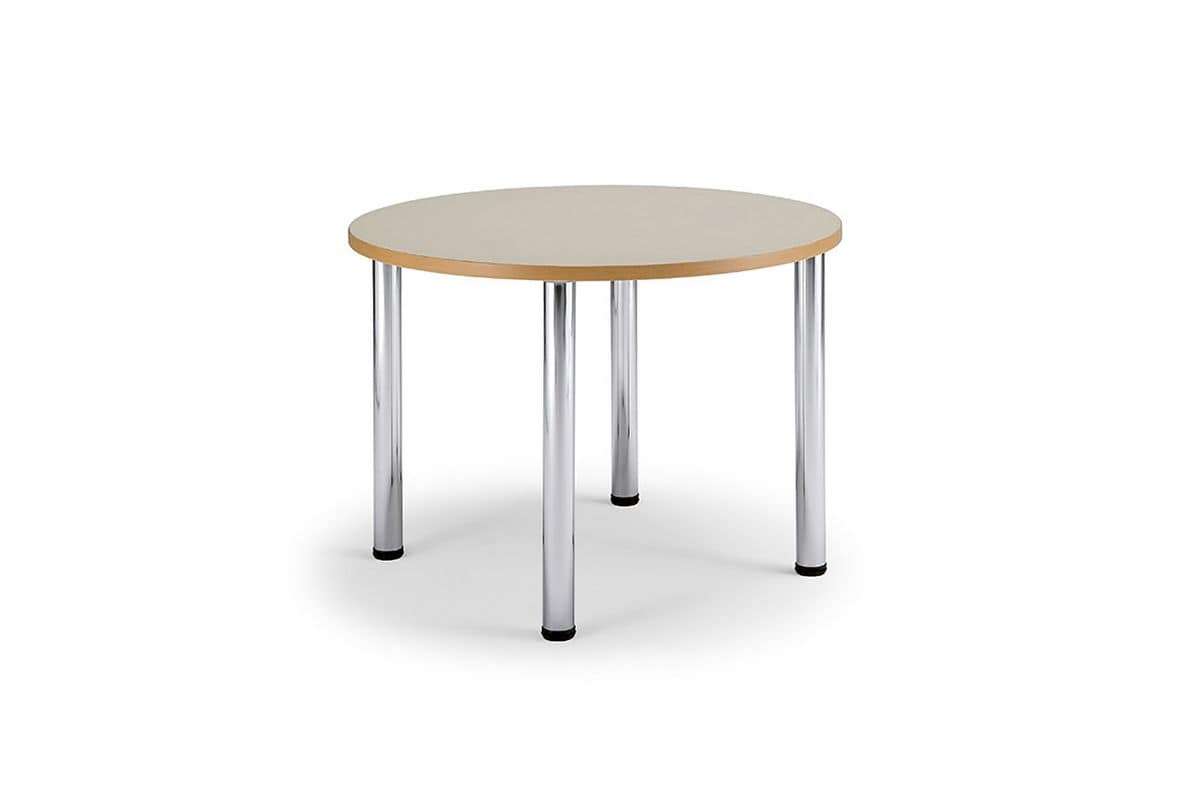 Arno 3 1621, Table with legs in chromed steel, round top