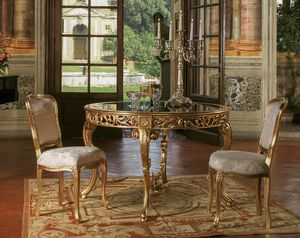 Art. 3067, Classic style table, with round glass top