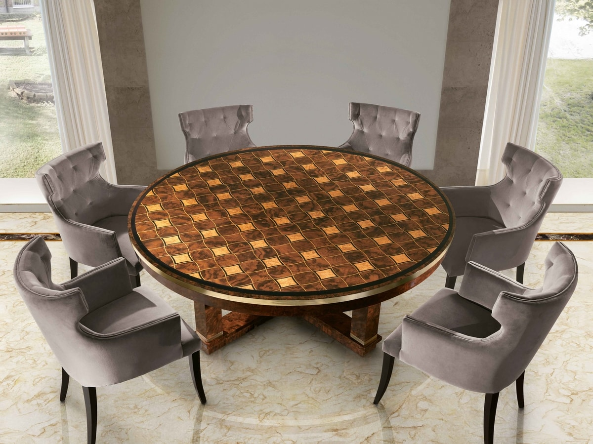 ART. 3290, Round table with inlaid top
