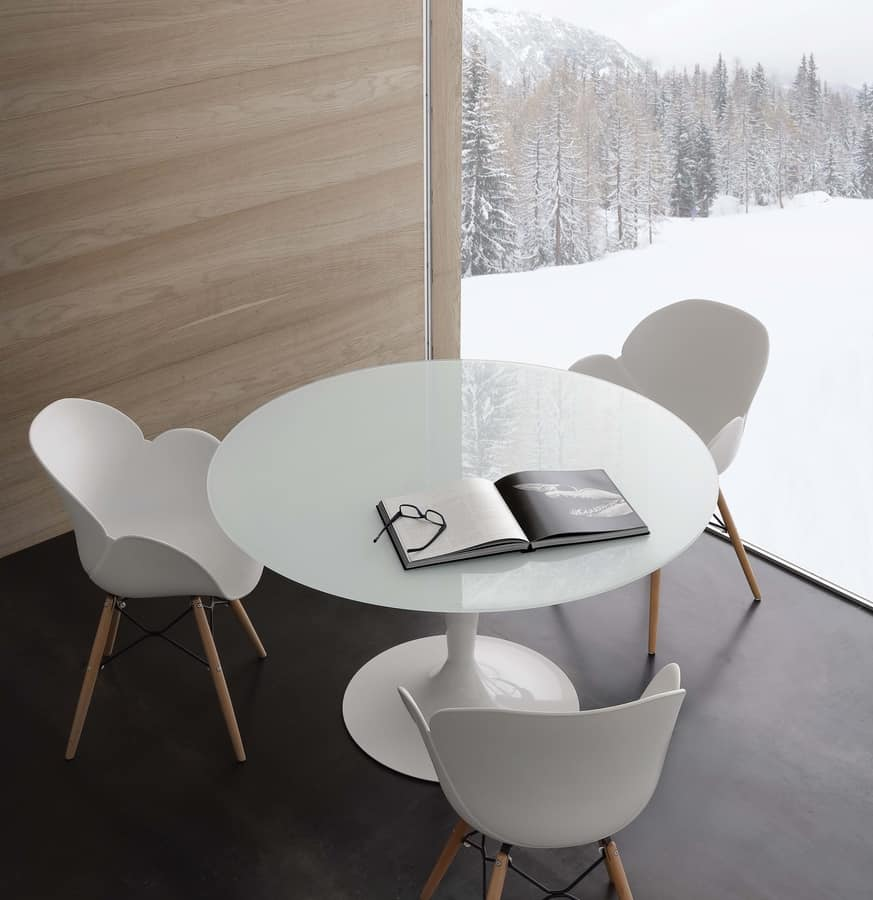 Art. 618 Bramante, Round table in extrawhite tempered  glass