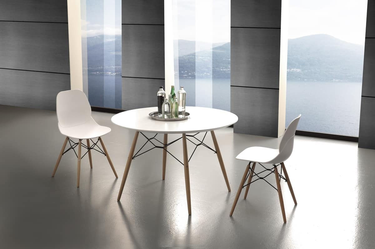 Art. 644 Shell Table, Round kitchen table with laminate top