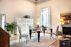 BEXLEY, Dining table with glass top and marble legs