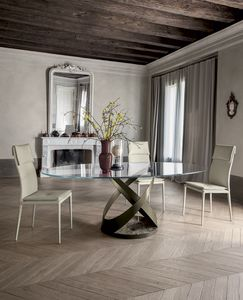 CAPRI, Fixed table with metal frame  painted and marble base