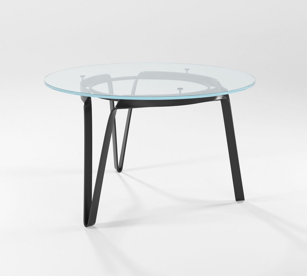 Compasso circolare alto, Table with hand forged base