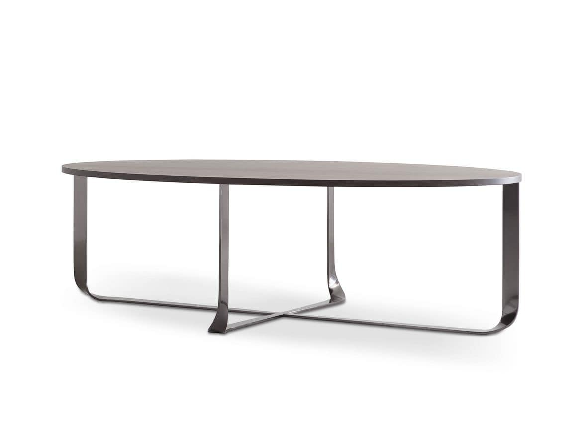 Confluence oval, Table with oval top, elegant stainless steel base