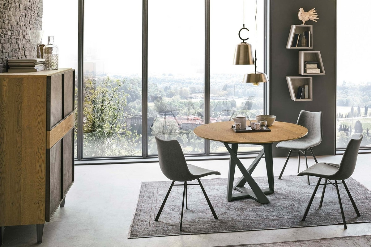 CRONOS wood TP1B0, Table with round wooden top