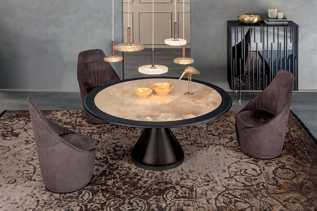 DOLLY, Table with lacquered agglomerate base, glass or ceramic top with wooden ring
