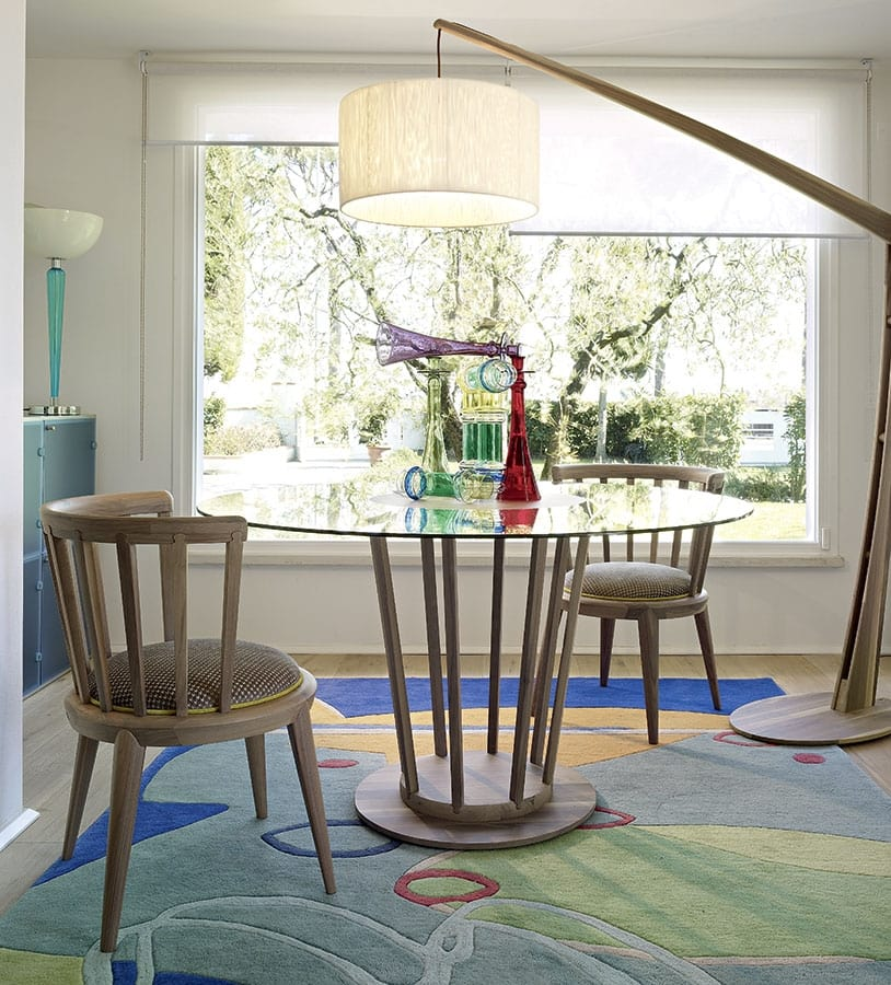 Eclipse table, Contemporary table, with round glass top