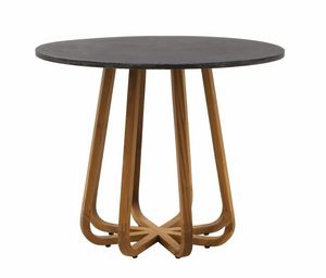 Emily 0459, Teak table, with round slate top