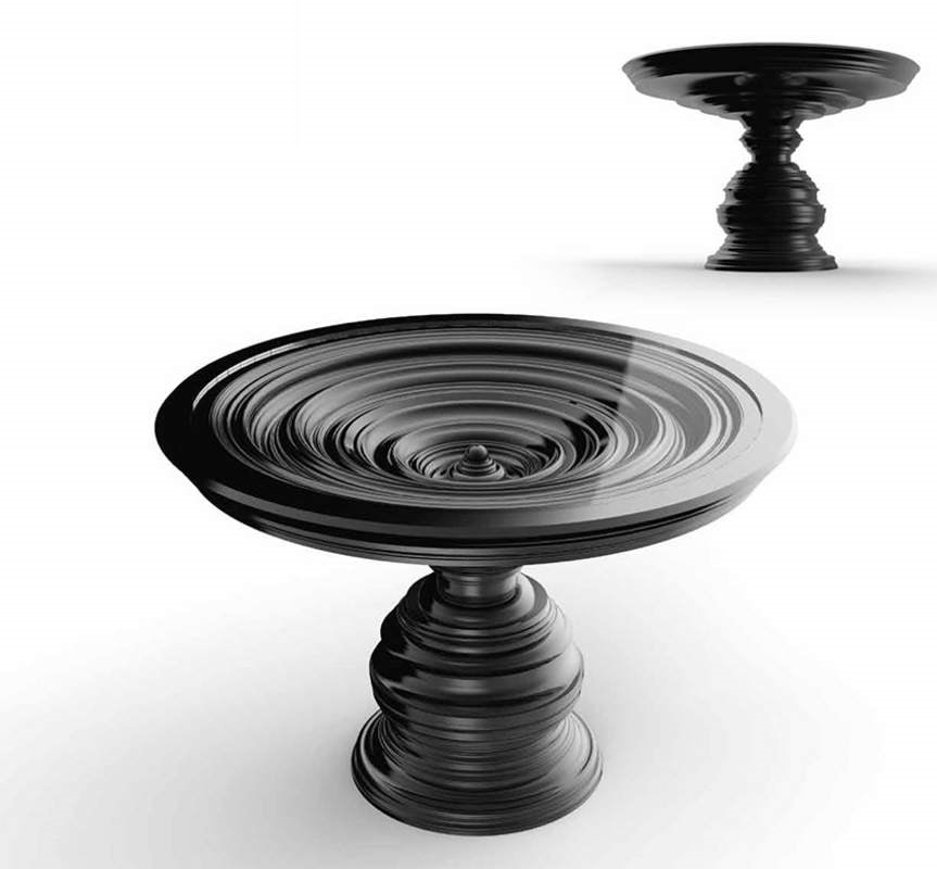 Frames Art. T08, Round table with glossy black lacquered base