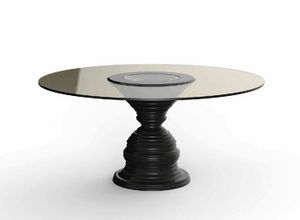 Frames Art. T09, Table with round top in bronzed crystal